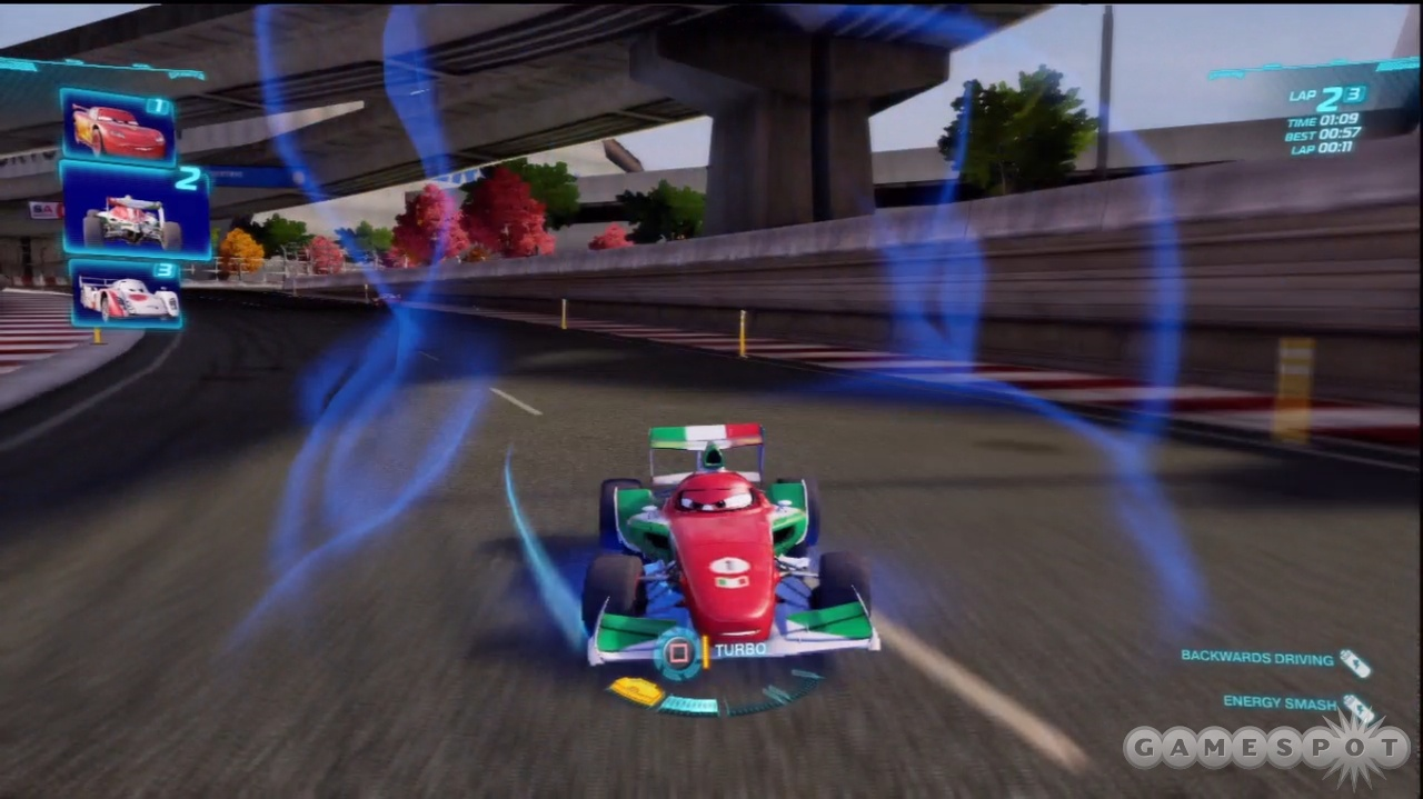 It's not often you see open wheel racers in reverse gear.