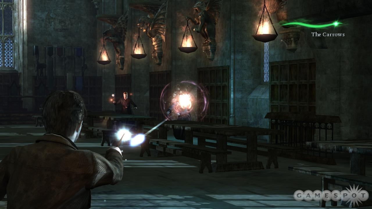 In the novel, Amycus Carrow was the victim of the cruciatus curse. In the game, you bring him down with your pea-shooter wand.