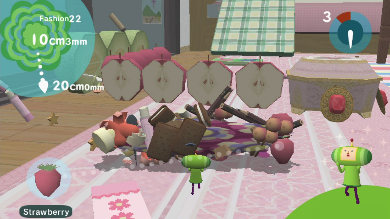 A flattened katamari can snag a row of halved apples more easily, don't you know?
