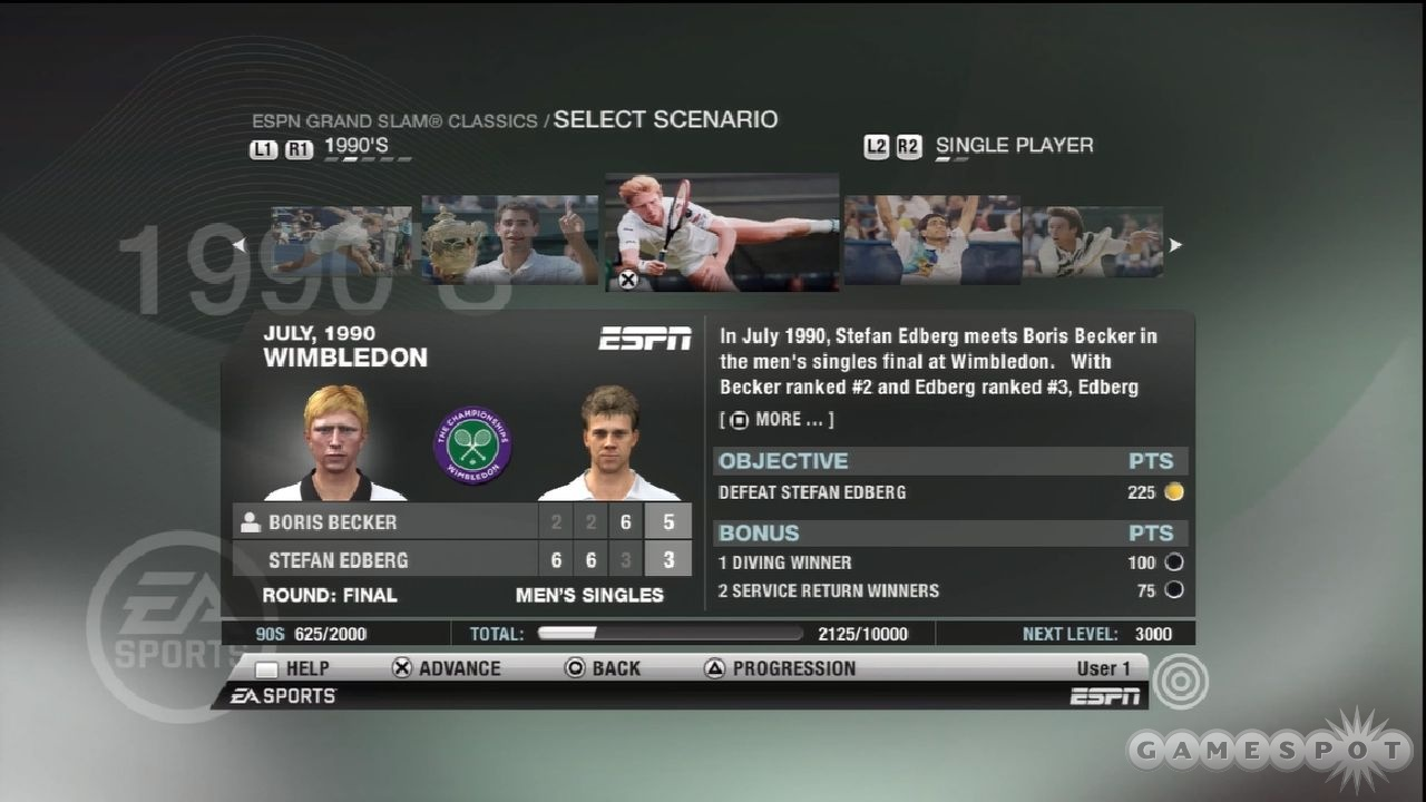 There are some really good matches available in the Grand Slam Classics mode.