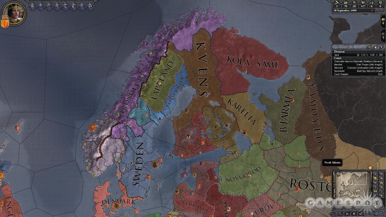 Crusader Kings II covers a lot of terrain, so it's a good thing you can easily color-code the map by all sorts of paramaters.