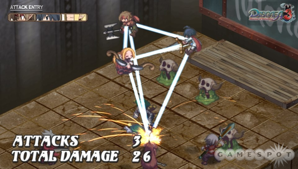Characters standing on adjacent tiles have a chance to help each other out with powerful team attacks.
