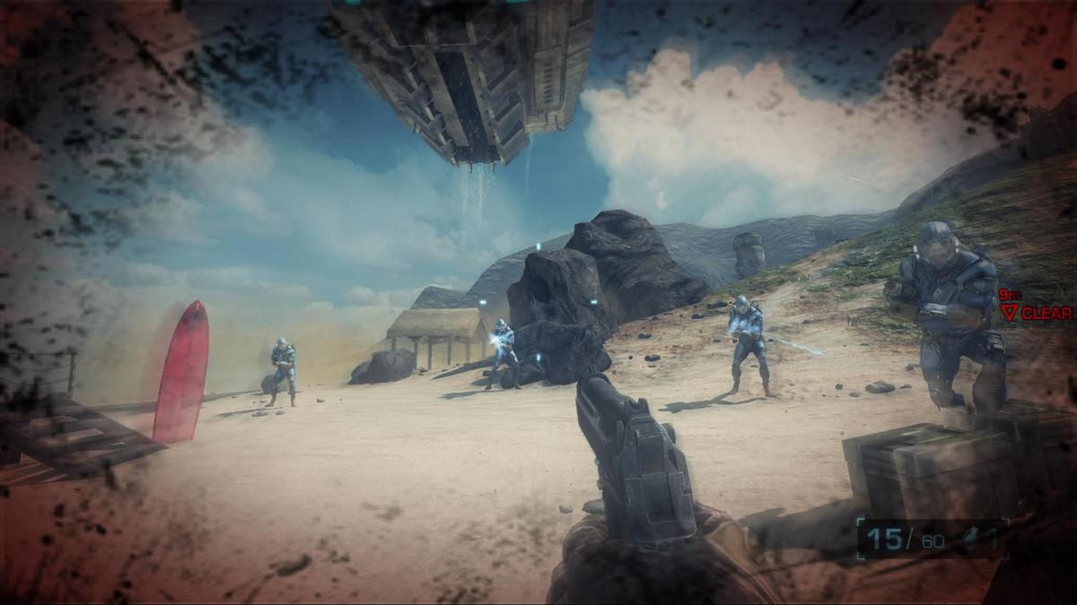 Using a pistol to take out four aliens armed with automatic weapons? Yeah, that'll end well…