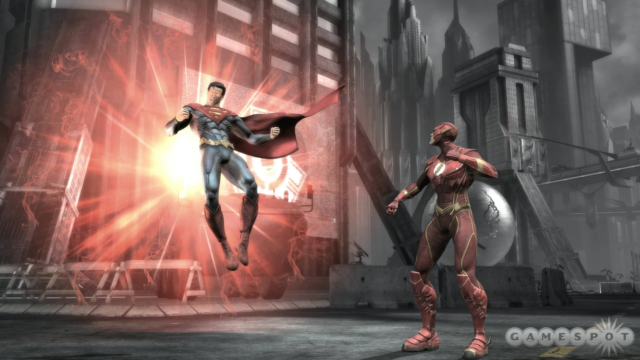 The Flash looks on as Superman charges up a seemingly less-than-troubling attack.