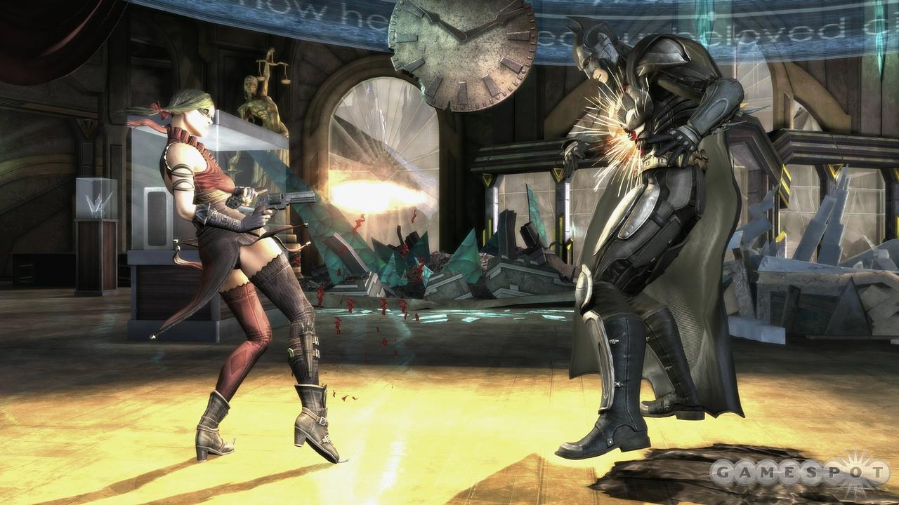 Harley Quinn hits Batman with a cheap shot from the hip.