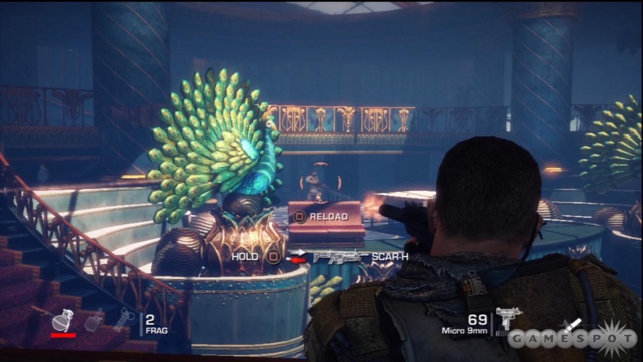 Enemy shotgunner, behind the jewel-encrusted peacock!