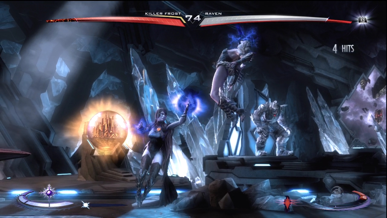 Injustice does not have rounds. Instead, you have two health bars, and when they run out the match is over.