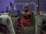 Parker in a futuristic Jeep.