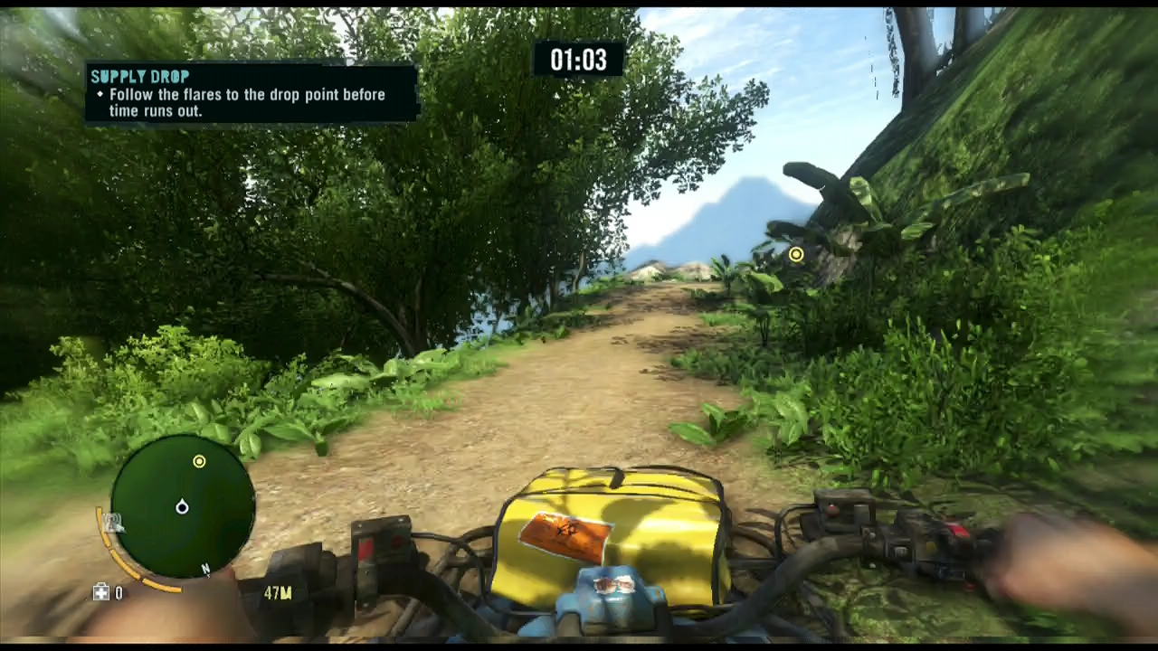 Supply drop missions put you in control of Far Cry 3's bouncy ATVs.