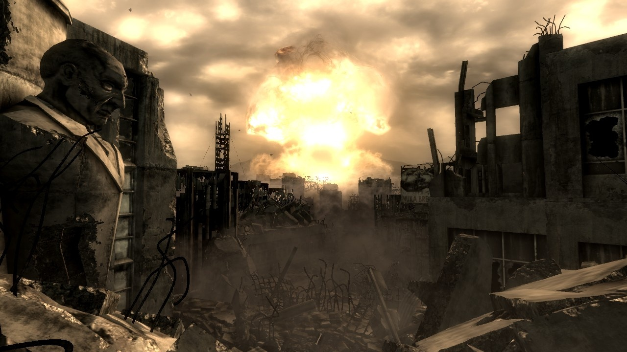 If you choose to destroy Megaton, you'll watch it explode in a catastrophic nuclear explosion, resulting in a mushroom cloud rising over Fallout 3's Wasteland.