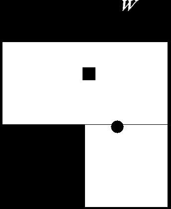 Since Shades of Doom is primarily an audio game, its graphics took a back seat. The square and circle are characters.