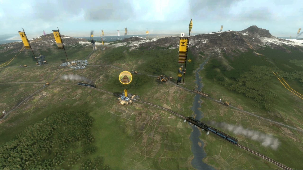 Move whole armies quickly and easily using the new railway system.
