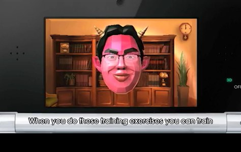 The demonized Dr. Kawashima in the new Brain Age game for the 3DS.