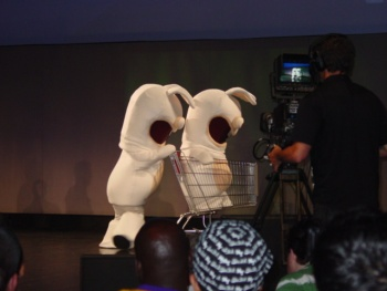 A pair of Rabbids made a cameo appearance with their favorite mode of transportation.