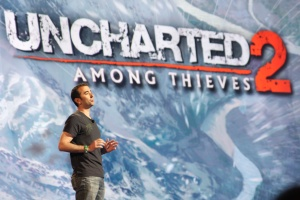 Evan Wells prepares to take attendees through a live demo of Uncharted 2.