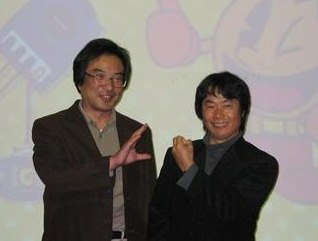 Iwatani (left) with Shigeru Miyamoto in 2003, creators of arguably the two biggest icons in gaming history.
