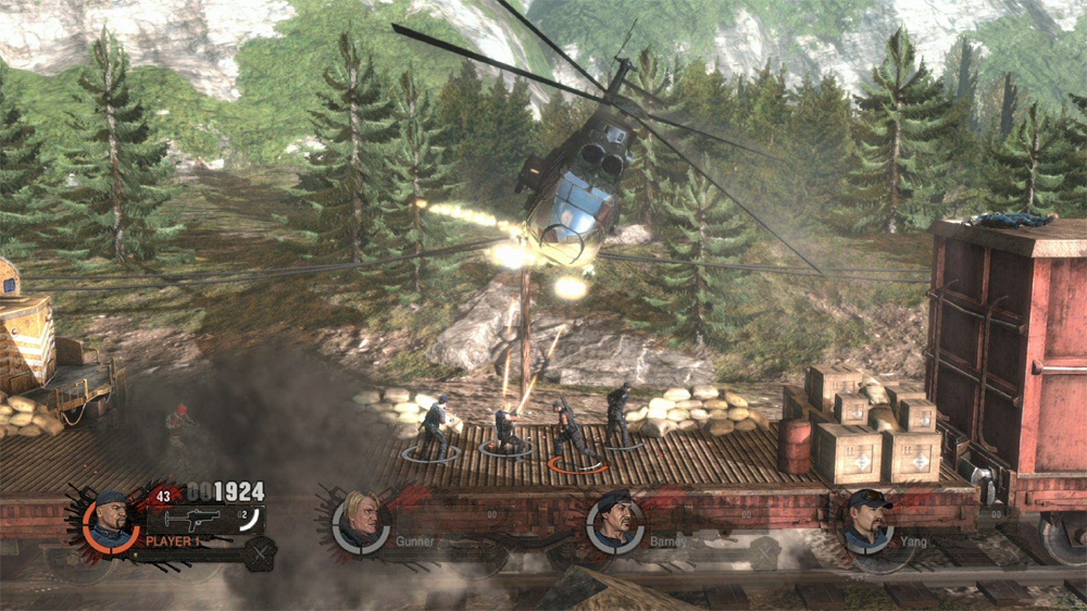 The mercenaries will have a helicopter of a time surviving this train ride!