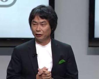 Shigeru Miyamoto onstage at Nintendo's media briefing.