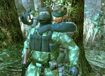 Snake spends some quality time with a friend in Metal Gear Solid 3: Snake Eater.