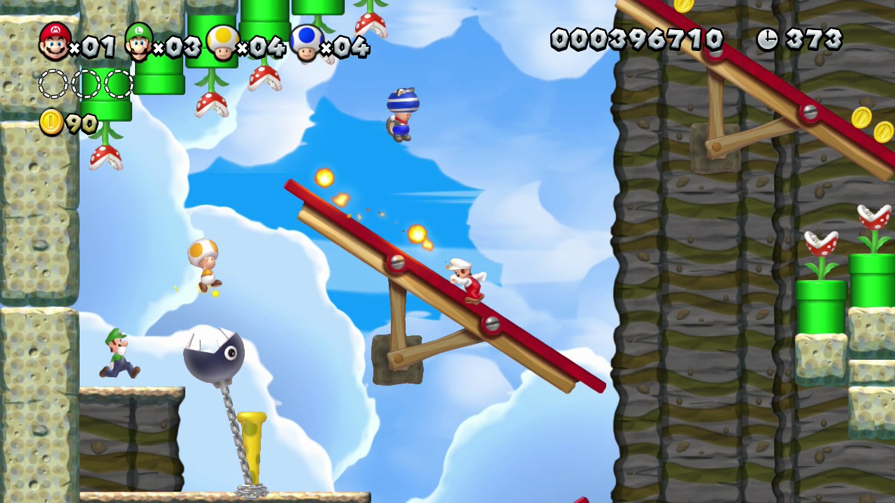 A prime example of the obstacles Mario must overcome during his quest to save the Mushroom Kingdom.