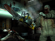 Yes, there's a chainsaw in the game, although in this case, you're on the wrong end of it.