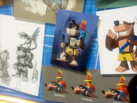Banjo concept art is displayed on the walls at Rare's studio in Twycross, UK.