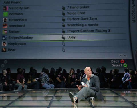 J Allard, demonstrating key features of the Xbox 360 for the first time, at E3 2005