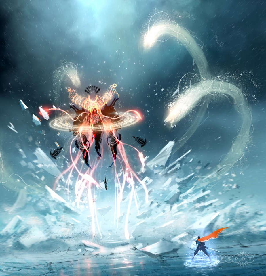 Concept art of Fortress' final boss fight.