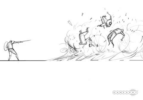 A design document showing the effects of a wind spell in combat.