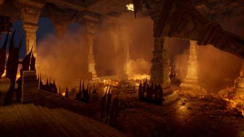 Much of The Descent takes place in narrow caves and corridors, but the scenery occasionally opens up to reveal haunting images of the ancient dwarven kingdoms.