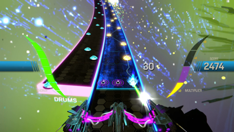 Amplitude's backgrounds generally don't react to player input. Dynamic changes could have made the sensory overload even more intense.