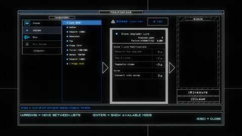 The modifications screen is for managing upgrades and repairs.