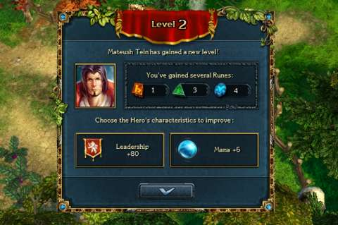 In addition to getting runes upon a level-up, the player also gets one of two randomly generated mutually exclusive choices, not unlike Heroes of Might and Magic.