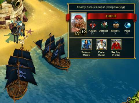 There are pirate lords, but they won't cause trouble as long as the player avoids bumping the hero's ship into them.
