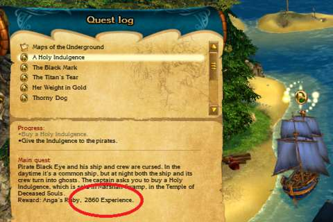 Pictured here is one of the easiest quests in the game; relative to the placement of the quest in the story progression, it has a rather high experience reward (as circled).