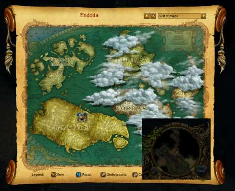 Pictured here is the world map which the player would bring up instead of the map for an indoor area. Inset: the mini-map for the indoor area