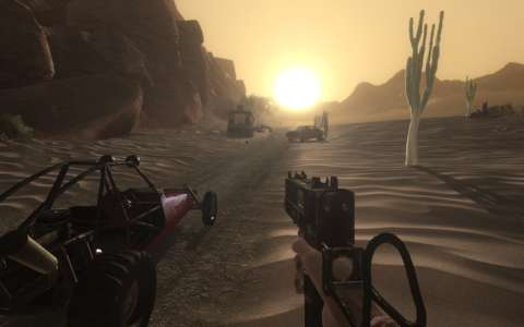Having an early start with my buggy across the desert.