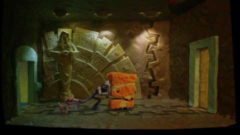 Some puzzles involve pushing this orange dude.