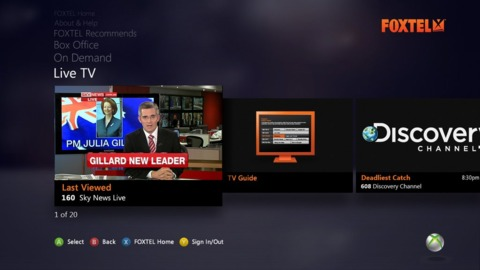 The Foxtel interface fits in with the way other Xbox 360 applications look.