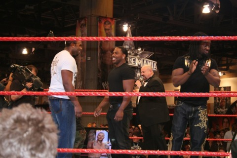Shad (in white) and JTG get hyped up before the final match.