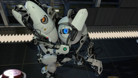 Portal 2's multiplayer mode stars bicker about the importance of shipped vs. sold.