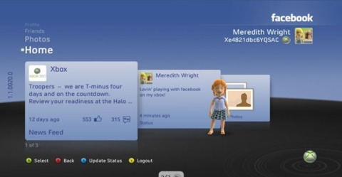 A look at the Facebook interface on Xbox Live.