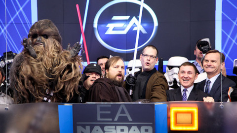 Zeschuk and Muzyka, celebrating The Old Republic's launch last year.