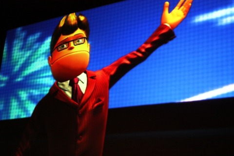 The opening video features a montage of Sony's key franchises, such as Buzz.