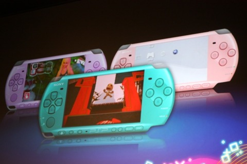 Meet the new European PSP-3000 colors: turquoise, violet, and pink.