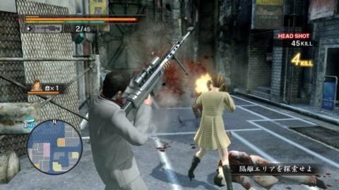 Main character Kiryu Kazuma busting some zombie chops with a hostess.
