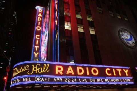 Outside Radio City on draft night…