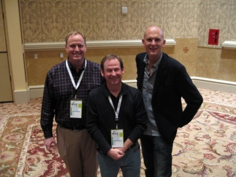 Sony execs attending the keynote address: (from left) SOE president John Smedley, SOE SVP and COO Russell Shanks, and SCE worldwide studios president Phil Harrison.