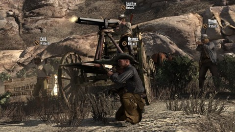Gatling guns will be among the weapons available in the Outlaws to the End Co-Op Mission Pack.