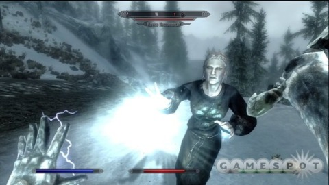 Skyrim residents celebrate the game's launch with a fireworks fight.